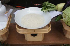 献上米と野菜